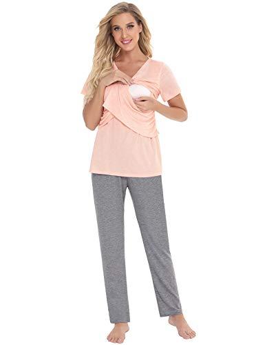 Abollria Mujer Ultra Suave Maternidad & Lactancia Las Pijama Conjunto,Manga Corta Cuello en V Lactancia Superior + Pantalones Largos Conjunto de Pijamas Embarazo Ropa de Dormir 2 Piezas