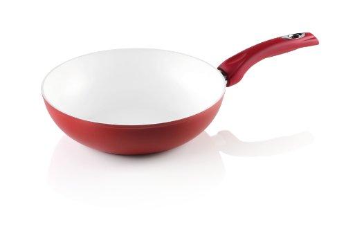 Bialetti Y0CBSPN280 Ceramic OK rot Wok-Pfanne, keramikbeschichtet Ø 28 cm