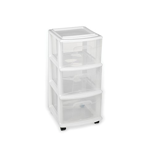 HOMZ Plastic 3 Drawer Medium Cart, White Frame, Clear Drawers, Casters Included, Set of 3