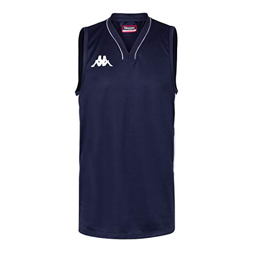 Kappa Cairo Camiseta Baloncesto, Hombre, Azul/Blanco, S