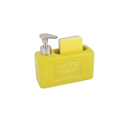 KOOK TIME Dispensador de jabón líquido para Cocina Wash con Estropajo – Cerámica/ABS (Lima Nórdico Mate)