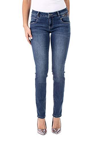 Blue Monkey Damen Jeans Vivien 10417 Dekorativer Reißverschluss