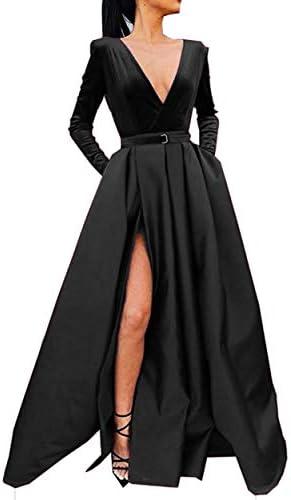 Meaningful Women s V Neck Velvet Satin Prom Evening Dresses Slit Long Sleeve Formal Gowns with product image