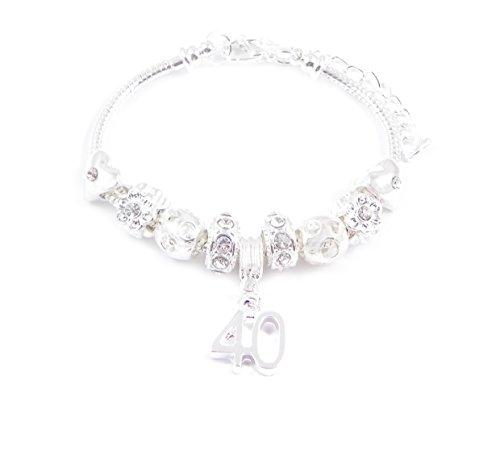 Charmed Jewellery Mujer Pulsera para 40cumpleaños Women \'charm de pulsera, estilo de Pandora