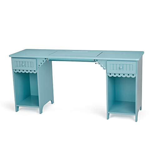 Arrow 1009 Olivia Sewing, Cutting, Quilting, and Crafting Sewing Cabinet with Storage and Lift, Blue Finish