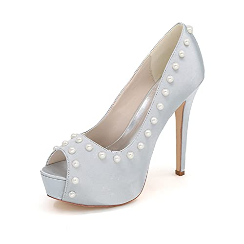 Zapatos De Novia De Satén con Punta Abierta para Mujer Zapatos De...