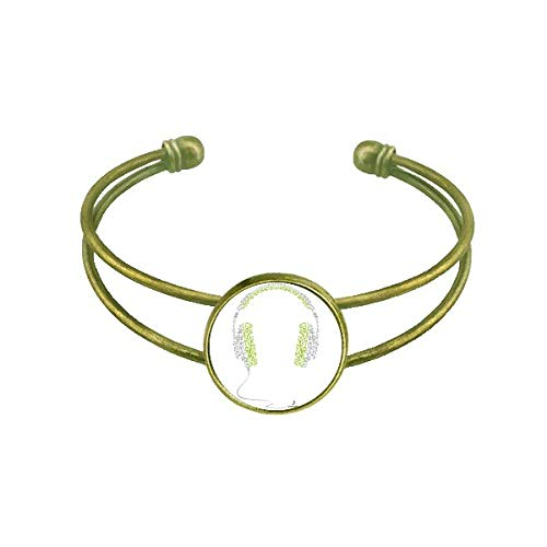 DIYthinker Green Gray Music Headset Pattern Bracelet Bangle Retro Open Cuff Jewelry