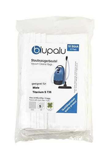 blupalu I Staubsaugerbeutel für Staubsauger Miele Titanium S 736 I 10 Stück I mit Feinstaubfilter