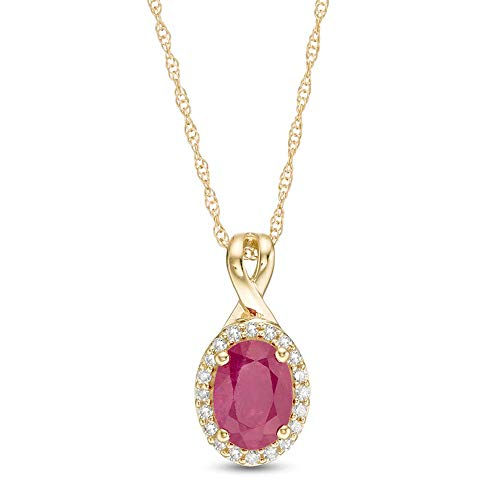 Colgante con forma ovalada de rubí y 1/10 CT. T.W. D/VVS1 con marco de diamante para mujer en plata 925 chapada en oro amarillo de 10 quilates
