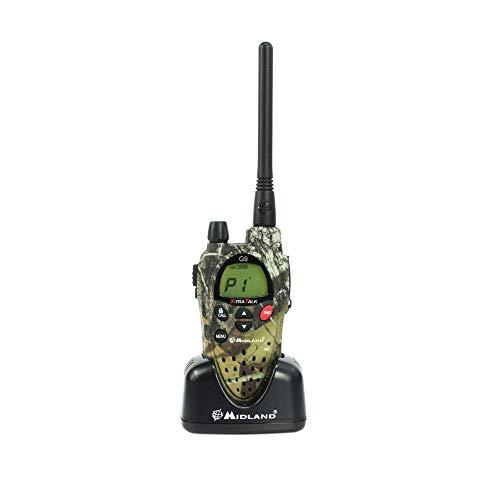 Midland G9 Plus Radio Ricetrasmittente Walkie Talkie Dual Band 8 Canali PMR446 e 16 Canali LPD, 1 Ricetrasmettitore, 4 Batterie Ricaricabili Ni-MH AA 800 mAh, Caricabatterie e Clip Cintura, Mimetico