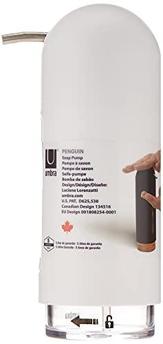 UMBRA Penguin Soap Pump. Pompe à savon Penguin. Distributeur de savon de cuisine ou salle de bain. Coloris blanc mat.