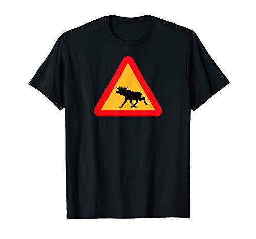 Svenska Schwedischer Elch Crossing Sign Sverige T-Shirt