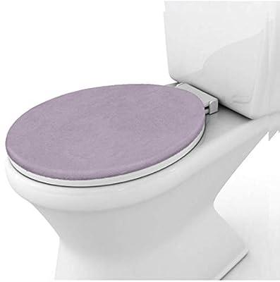 Gorilla Grip Original Thick Memory Foam Bath Room Toilet Lid Seat Cover, Many Colors, 19.5x18.5, Machine Washable, Plush Fabric Covers, Fits Most Size Toilet Lids for Kids Bathroom, Soft Purple
