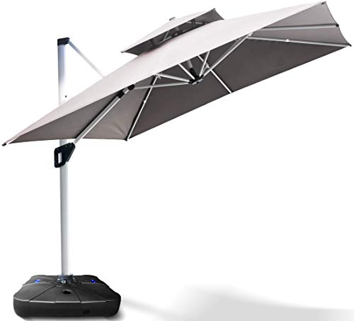 Project One 10ft Patio Umbrella Square Outdoor Umbrella Large Cantilever Umbrella Windproof Offset Umbrella Heavy Duty Sun Umbrella for Garden Deck Pool Patio (Khaki)