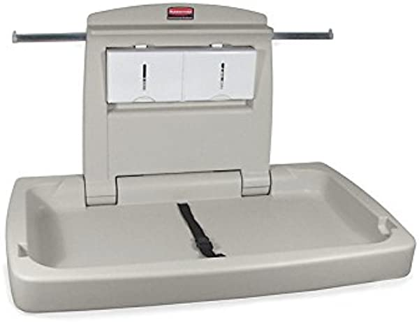 Rubbermaid Commercial Horizontal Baby Changing Station 33 25 Inch Length X 21 5 Inch Width X 4 Inch Height Light Platinum FG781888LPLAT
