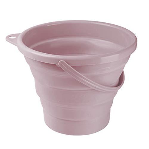 折りたたみバケツ 大容量5L/10L 洗い桶 たらい 釣り用バケツ 掃除 洗濯 アウトドア 車載バケツ 生活用品 多機能 便利 キッチン アウトドア 取っ手付き (ピンク, 5L)