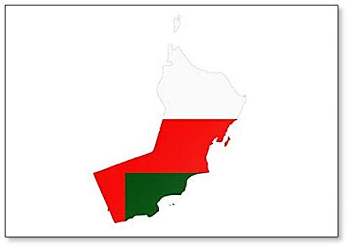 Kühlschrankmagnet, Motiv Karte & Flagge von Oman