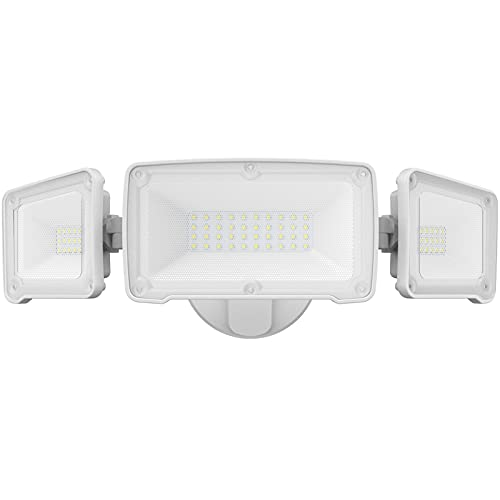 LEPOWER 35W LED Security Light, 3500LM Outdoor Flood Light Fixture, Exterior Lights with 3 Adjustable Heads, 5500K, IP65 Waterproof for Garage, Yard, Porch (White)