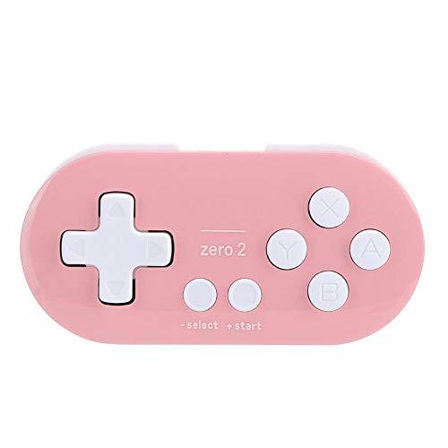 Pusokei Drahtloses Bluetooth-Gamepad Gamepad-Joystick, Cross Key für Zero2, tragbares drahtloses Mini-Controller-Gamepad mit Akku mit großer Kapazität für Switches/Windows-PCs/Android-Geräte(Rosa)