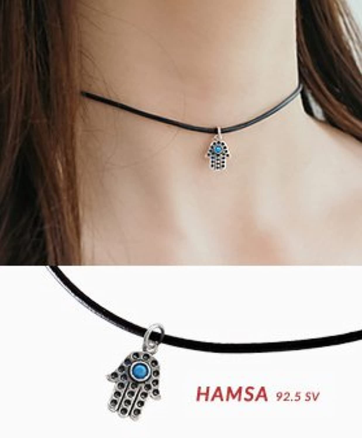 Korea Shopping Shopping 4 Fashion Elegant Retro Diamond Exquisite Little Hand Leather Necklace Pendant 925 Silver Necklace