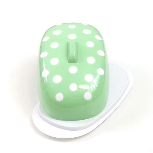 Berossi - Burriera in plastica verde con coperchio, senza BPA, da conservare in frigorifero in plastica, per il burro, in plastica, girevole, in stile retrò