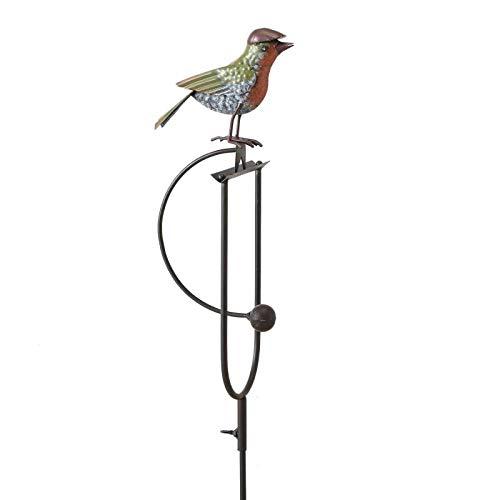 L'Héritier Du Temps Mobile de Jardin à Balancier à Planter ou Tuteur pour Plantes Motif Oiseau en Fer Patiné Marron et Multicolore 5x18x136cm