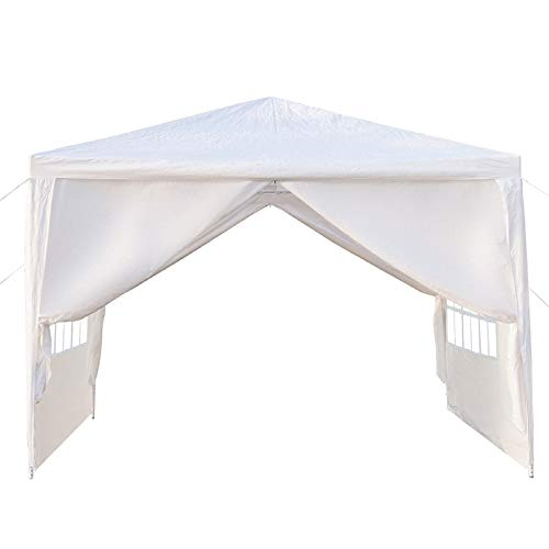 OxStraps Outdoor Gazebo Canopy Tent Sunshade Shelter with Removable Sidewalls Upgraded Thicken Steel Tube, White