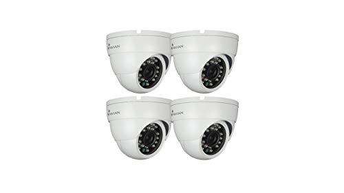 Nivian-Kit 4 Unidades Cámara Falsa metálica Tipo Domo, réplica de cámara Real, Dummy Cámara de Seguridad Vigilancia Falsa Impermeable – Corona Leds IR Reales - Fake Cámara Simulada CCTV