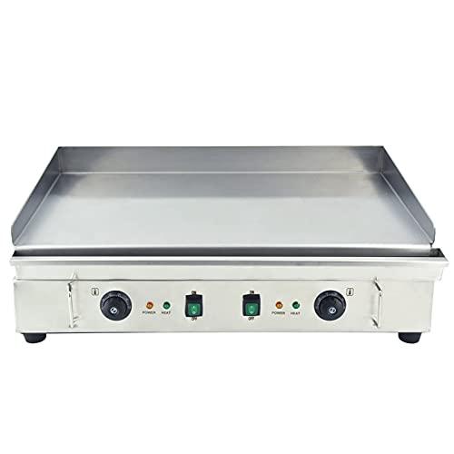 T-CAT Parrilla eléctrica de acero inoxidable, lisa, parrilla eléctrica, parrilla de mesa Gastro 73 x 40 cm, 50-300 °C, 4000 W