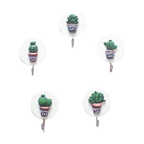 TOPBATHY 5Pcs Cactus Shaped Hooks Cute Self-Adhesive Hooks Wandhalterung Punch-Free Wall Hanger Random Style