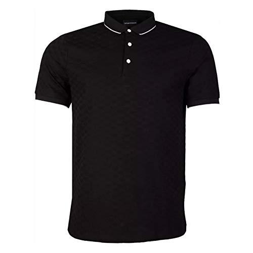 Emporio Armani Polo negro de algodón con cuello despojado