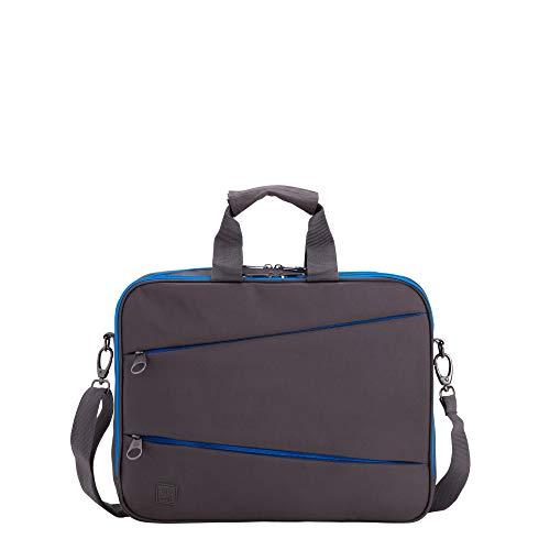 CARPISA® Borsa da lavoro da unisex GO CITY 3 - Nylon - Tracolla regolabile e staccabile - Grigio con dettagli azzurri - Dimensioni 39 x 30 x 10 cm