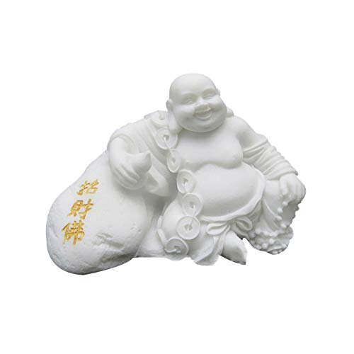 LINGS Laughing Buddha Statues,White Marble Stone Chinese Feng Shui Decor Sculptures Home Office Wealth Good Luck Prosperity Figurines,Hademade