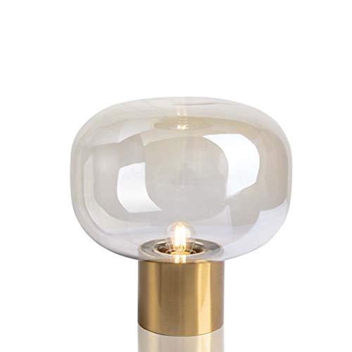 NoNo Oval Glas Tischlampe Nachttischlampe, Metall + Glas, LED Tischleuchte Mit Guter Optischer Leistung, Wärmeisolierung, Geeignet Für Wohnzimmer/Studie/Schlafzimmer