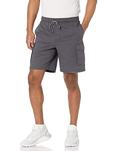 Amazon Essentials Men's 9' Inseam Elastic Waist Cargo Short, Dark Grey, Large