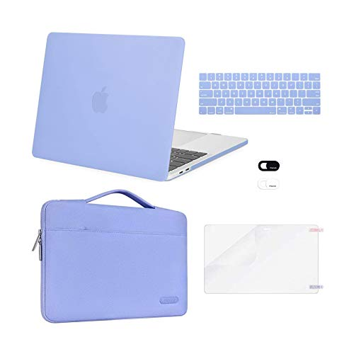 MOSISO Compatible with MacBook Pro 13 inch Case 2016-2020 Release A2338 M1 A2289 A2251 A2159 A1989 A1706 A1708, Plastic Hard Shell Case&Bag&Keyboard Skin&Webcam Cover&Screen Protector, Serenity Blue