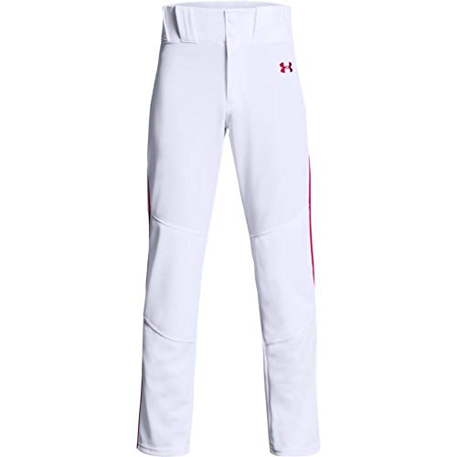 Under Armour Boys' Utility Relaxed Piped Baseball Pants , White (103)/Red , Youth Medium