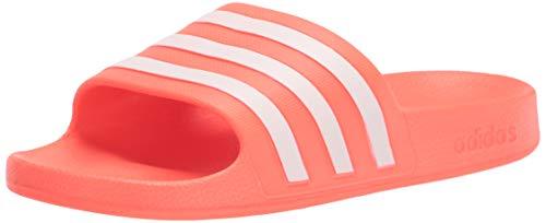adidas Women's Adilette Aqua Slide Sandal, Solar Red/White/Solar Red, 7