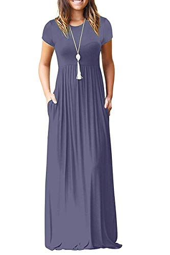 AUSELILY Women's Solid Plain Short Sleeve Loose Maxi Dress Casual Long Dress with Pockets Purple Gray Small