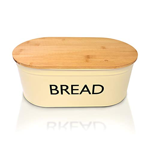 RoyalHouse Premium Metal Bread Box with Bamboo Lid, Bread Storage, Bread Container for Kitchen Counter, Kitchen Decor, Vintage Kitchen