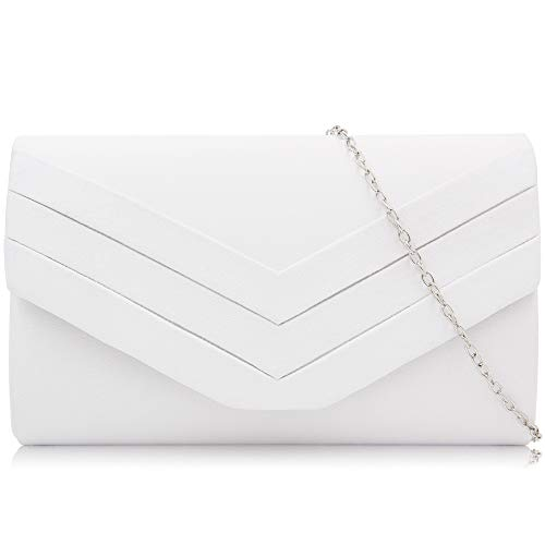 Milisente Evening Bag for Women, Suede Envelope Evening Purses Crossbody Shoulder Clutch Bag (White)