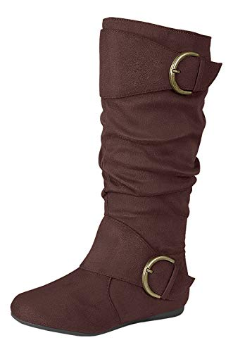Forever Link Klein-70 Women's Closed Round Toe Buckle Slouch Flat Heel Mid-Calf Boot,Brown,8.5