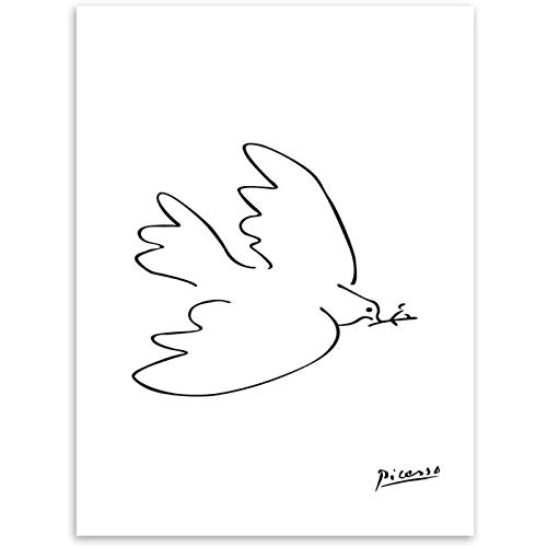 Picasso Paix Colombe Ligne Dessin Affiche Abstrait Animal...