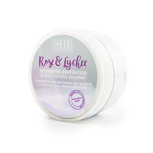 OM SHE Aromatherapy Moisturizing Body Butter, 250g Vegan Friendly - Cruelty Free - No Harsh Chemicals (Rose & Lychee)