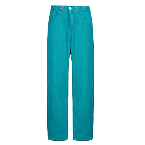 Pantalones Vaqueros deliciosos para Mujer, Pierna Recta, Cintura Alta, Todo fósforo, Pantalones de Mezclilla Informales relajados, Pantalones de Color Puro L
