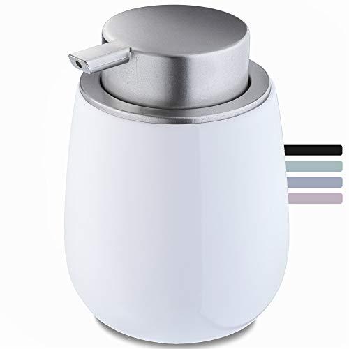 KADAX Seifenspender aus Keramik, Spender mit Pumpe aus Kunststoff, Lotions-Pender für Bad, Küche, 12,5 x 9,5 cm, Flüssigseifen-Spender, Spülmittel-Spender, rund, glänzend (weiß)
