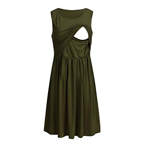 Women Maternity Sleeveless Dress Nursing T Shirts Dress Nightgown Breastfeeding Dress Pull-up Hospital Gown Pregnancy Clothes (Army Garrn, XL)