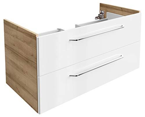 FACKELMANN Waschtischunterschrank Milano/Badschrank mit Soft-Close-System/Maße (B x H x T): ca. 100 x 49,5 x 48 cm/Waschbeckenunterschrank mit 2 Schubladen/Korpus: Braun hell/Front: Weiß