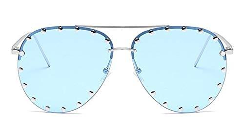 N\A Gafas de Sol de Moda Las Mujeres de Lujo de la Personalidad del Metal del Remache SunglassesLadies piloto Gafas de Sol Gafas Gafas Sombras UV400 (Lenses Color : C7 Silver Blue)