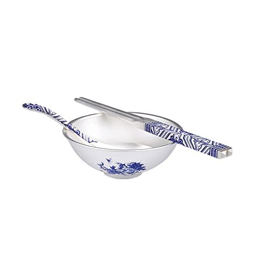 XXSC-ZC Tazón de Cereal de Plata esterlina, Placa de Postre de Fruta de Ensalada, tazón de arroz de Fideos, tazón de Sopa, Plato de Plata esterlina de patrón de Porcelana Azul y Blanco,Peony 100g Set